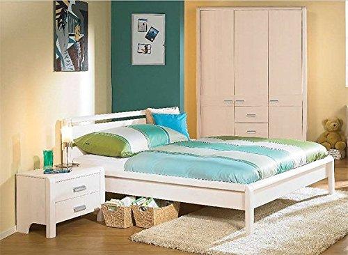 Jugendzimmer komplett Bett 160x200 cm 6739 weiss gewachst Kiefer massiv