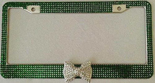 zusooz Emerald Green Bling Rhinestone License Plate Frame Clear/Diamond Bow, Woman, Girl Car Accessory (Emerald Green/Clear)