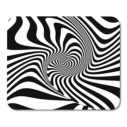 Torsion Drop - Nakamela Mouse Pads Black Abstraction Design Monochrome Swirl Movement Abstract Stripe Drop Torsion Twisted White Circle Mouse mats 9.5