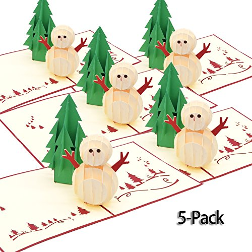 Christmas Greeting Cards with Envelopes -Pure Handmade 5 Pack- Special 3D Pop Up Holiday Greeting Cards Snowman for Xmas,Festival,Birthday
