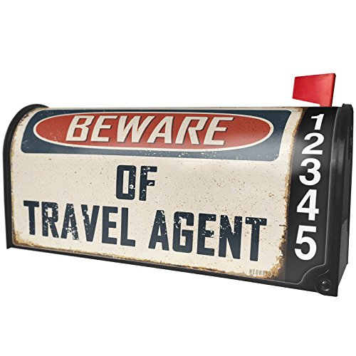 NEONBLOND Beware Of Travel Agent Vintage Funny Sign Magnetic Mailbox Cover Custom Numbers by NEONBLOND