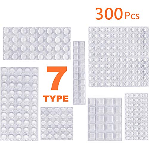 Clear Rubber Feet Bumpers Pads 300 Pieces Self Adhesive Transparent Stick Bumper Noise Dampening Buffer Bumpers for Door Drawer Self Stick Cabinet-MOZOLAND ()