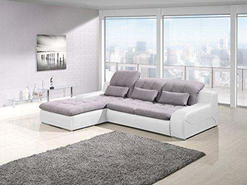 Awesome Bavaria Weiss Grau Schlaf Luxus Modern Sofa Couch Lform Mit  Bettkasten Gro Xxl Sofabett Couchbett Ottomane Kunstleder Stoff With Xxl  Sofa L Form ...