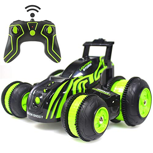 Stunt RC Cars Remote Control Car Double-Sided Rotating Vehicles 3D/180/360 Degree Flips, Birthday Gift Toy for Boys Girls Green