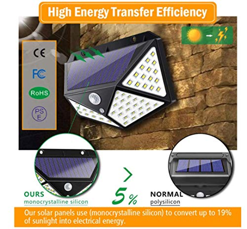 Inshere LEDs Solar Lights Outdoor Solar Motion Sensor Lights Wireless Security Lights Waterproof Solar Powered Lights for Steps Yard Garage Porch Patio