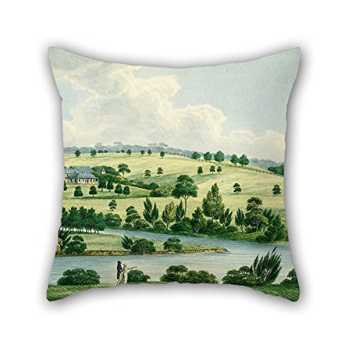 Cushion Cases Of Oil Painting Joseph Lycett - Residence Of John Macarthur Esq Near Parramatta N.S.W. For Shop Home Office Home Husband Boy Friend Seat 16 X 16 Inches / - Parramatta Shop