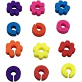 OUNONA Marcatore segnabicchieri a forma di anelli e fiori colorati in silicone 12PCS