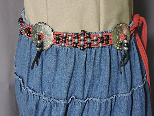 Western Belt - Black and Gray Beads on Red Suede Lacing with (Cowgirl Concho Belt)