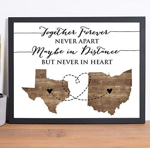 Two State Paper Art Print | Personalized Grandparent Sign | Long Distance Gift | Going Away Gift
