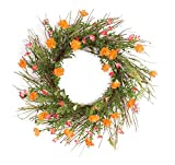 Pack of 2 Springtime Orange and Pink Artificial Moss Rose Wreaths 26""
