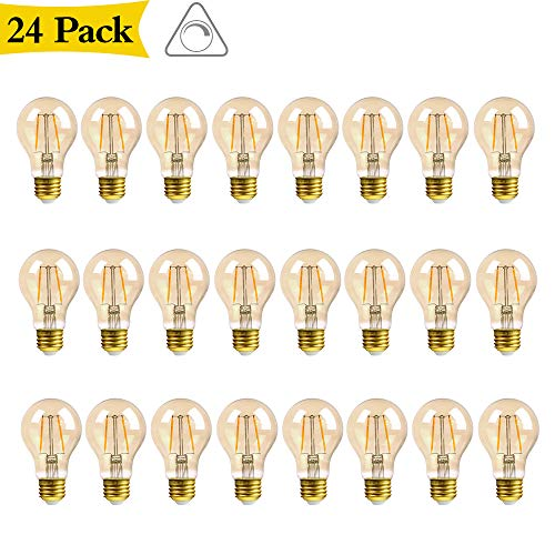 GMY Lighting A19 2.5W Edison LED Light Bulb Vintage Filament Amber Bulb Equivalent 17W Incandescent 120V E26 2200K Warm White- 24Pack by GMY