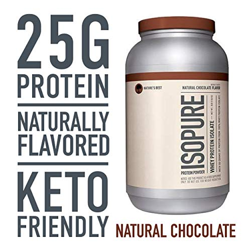 Isopure Naturally Flavored, Keto Friendly Protein Powder, 100% Whey Protein Isolate, Flavor: Natural Chocolate, 3 Pounds (Chocolate All Natural)