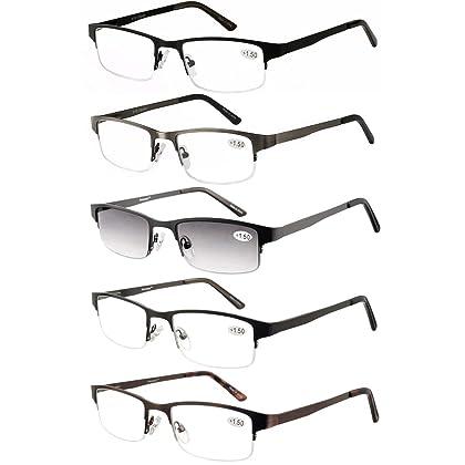 18ed5737e9 Eyecedar Metal Half-Frame Reading Glasses Men 5-Pack Spring Hinges  Stainless Steel Material Includes Sun Readers +2.00