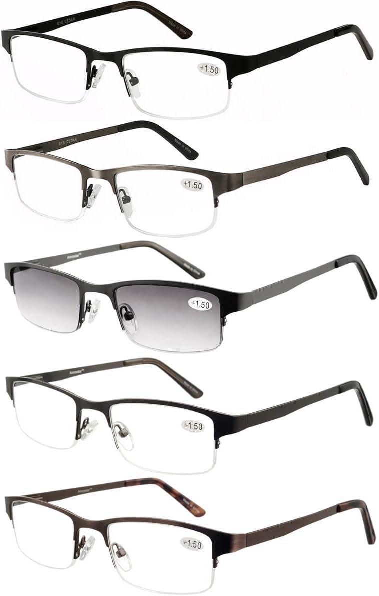 Amcedar 5-pack Gafas de lectura Hombres Medio Marco Estilo Acero Inoxidable Materiales Metal Bisagras de Resorte incluye Gafas sol de Lectura +2.00
