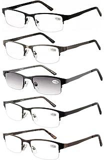 05153ed4e13 Amcedar Metal Half-Frame Reading Glasses Men 5-Pack Spring Hinges Stainless  Steel Material…