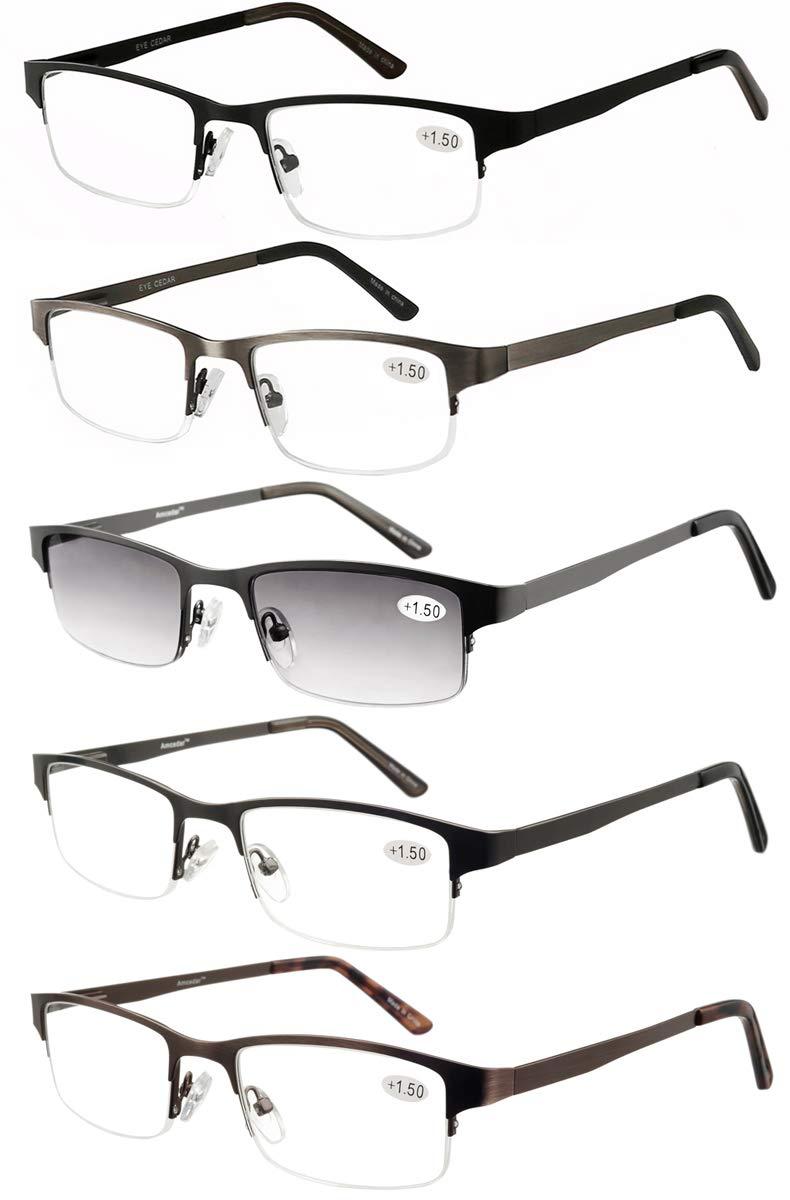 Eyecedar Metal Half-Frame Reading Glasses Men 5-Pack Spring Hinges Stainless Steel Material Includes Sun Readers +2.00 by eyecedar