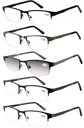 896e53e89e6 Amcedar Metal Half-Frame Reading Glasses Men 5-Pack Spring Hinges Stainless  Steel Material