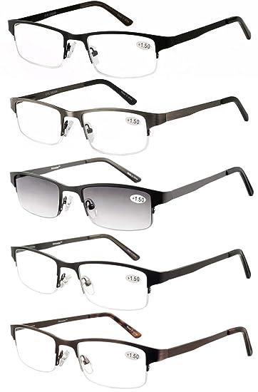 251ae9d0b7 Eyecedar Metal Half-Frame Reading Glasses Men 5-Pack Spring Hinges  Stainless Steel Material