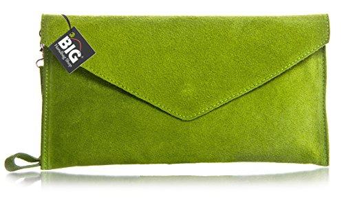 BHBS Bolso para Dama tipo Sobre de mano en Cuero Gamuzado Italiano Auténtico 30.5 x 16 cm (LxA) Lime Green (HR256)
