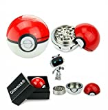 ball herb grinder - Pokemon Poke-Ball Grinder For Weed - 3 Piece 2.2 Inch Aluminum Herb and Spice Grinder - Nuts Grinder with Kief Keef Catcher and Perfect G-i-f-t Box By Gimmick
