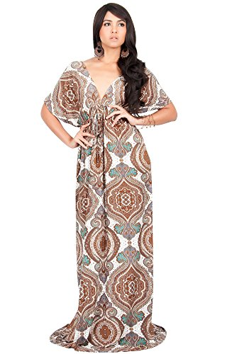 KOH-KOH-Plus-Size-Women-Print-Summer-Sexy-Kaftan-Casual-Spring-Hawaiian-Party-Cocktail-Cute-Wedding-Guest-Sun-Sundress-Sundresses-Gown-Gown-Maxi-Dress-Dresses-Brown-and-White-XL-14-16
