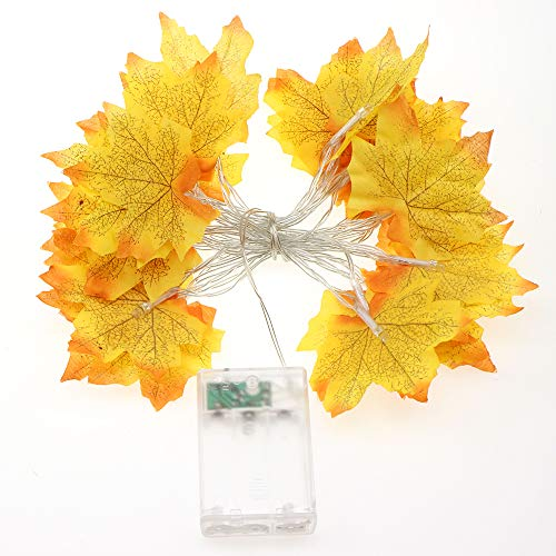 Assorted Fall Colored Artificial 9.8′Maple Leaves String with 30pcs LED for Thanksgiving Weddings Events and Decorating (Yellow)