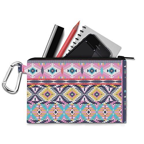 Bright Aztec Tribal Geometric Canvas Zip Pouch - XL Canvas Pouch 12x9 inch - Multi Purpose Pencil Case Bag in 6 sizes
