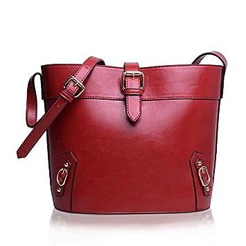 a9fea8cf1e PLXG Promotion Bucket Bag Vintage Women Messenger bags women Leather  handbags Shoulder bags Tassel Bolsas Mujer Crossbody bag BH822 (Red)   Amazon.co.uk  ...
