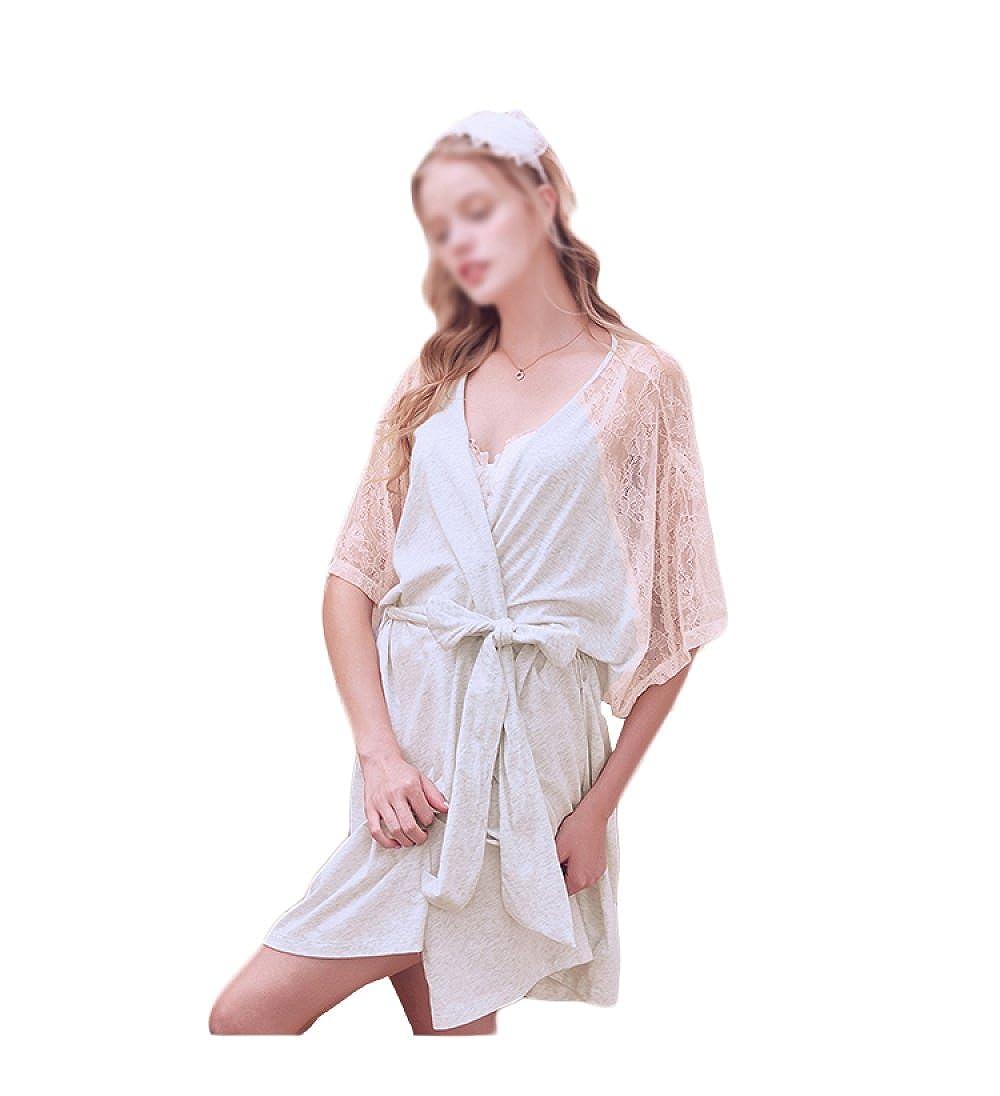 Camisones De Las Mujeres De Primavera Y Verano De La Moda De La Raya Sexy Comfort Albornoces Pijama Blanco Rosa,Pink-L: Amazon.es: Ropa y accesorios
