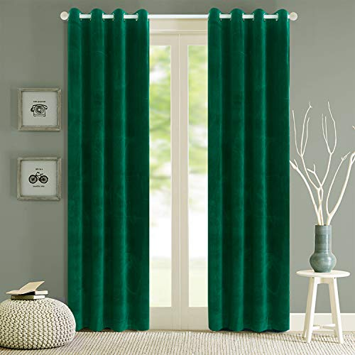Roslynwood Blackout Velvet Curtains Velvet Energy Efficient Grommet Drapes Dark Green 96 inch Thermal Insulated for Bedroom 2 Panels (W52'' x L96'', Dark Green)