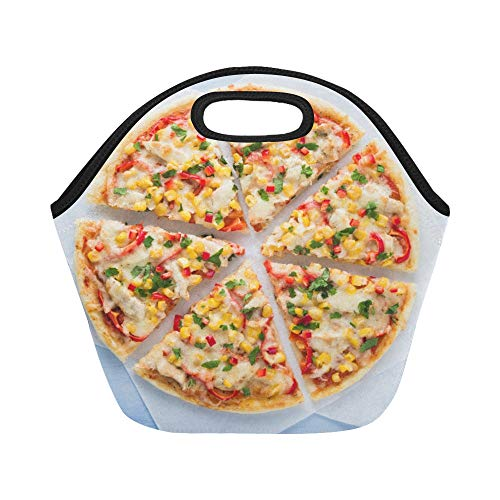 Insulated Neoprene Lunch Bag Colorful Sliced Pizza With Mozzarella Cheese Chic Large Size Reusable Thermal Thick Lunch Tote Bags For Lunch Boxes For Outdoors,work, Office, School (Best Mozzarella Cheese Brand For Pizza)