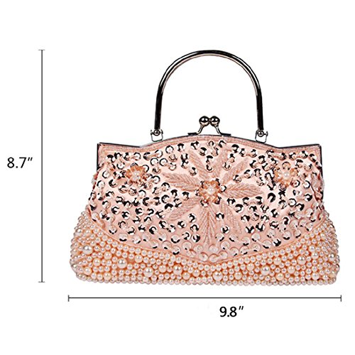 YYW Sequin Clutch Bag - Cartera de mano para mujer negro