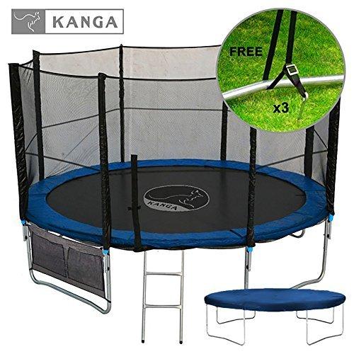 Kanga 12ft Premium Trampoline with Safety Enclosure, Net, Ladder, Anchor Kit, Shoe Bag & Winter Cover (12ft) by Kanga (Shoe Bag Kit)