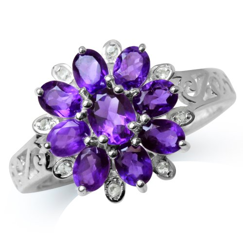 1.5ct. Natural African Amethyst & White Topaz 925 Sterling Silver Flower Cluster Ring Size 7 (Cluster 925 Sterling Silver Ring)