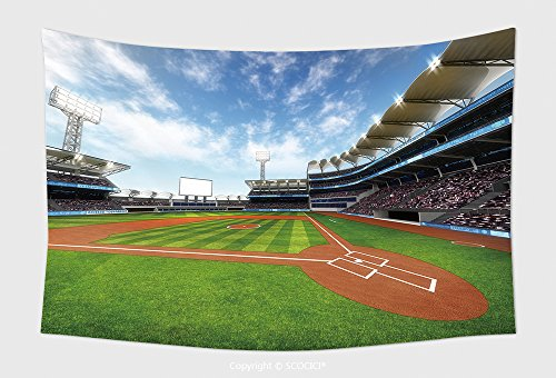 Home Decor Tapestry Wall Hanging Baseball Stadium With Fans At Sunny Weather Sport Theme D Illustration 476504869 for Bedroom Living Room (Halloween Weather Nashville)