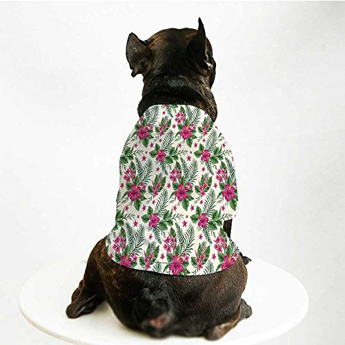 YOLIYANA Watercolor Printing Pet Suit,Plumeria and Hibiscus Flora Tropical Island Nature Aloha Hawaii Jungle Decorative for Small Dog Teddy Chihuahua Bichon,L]()