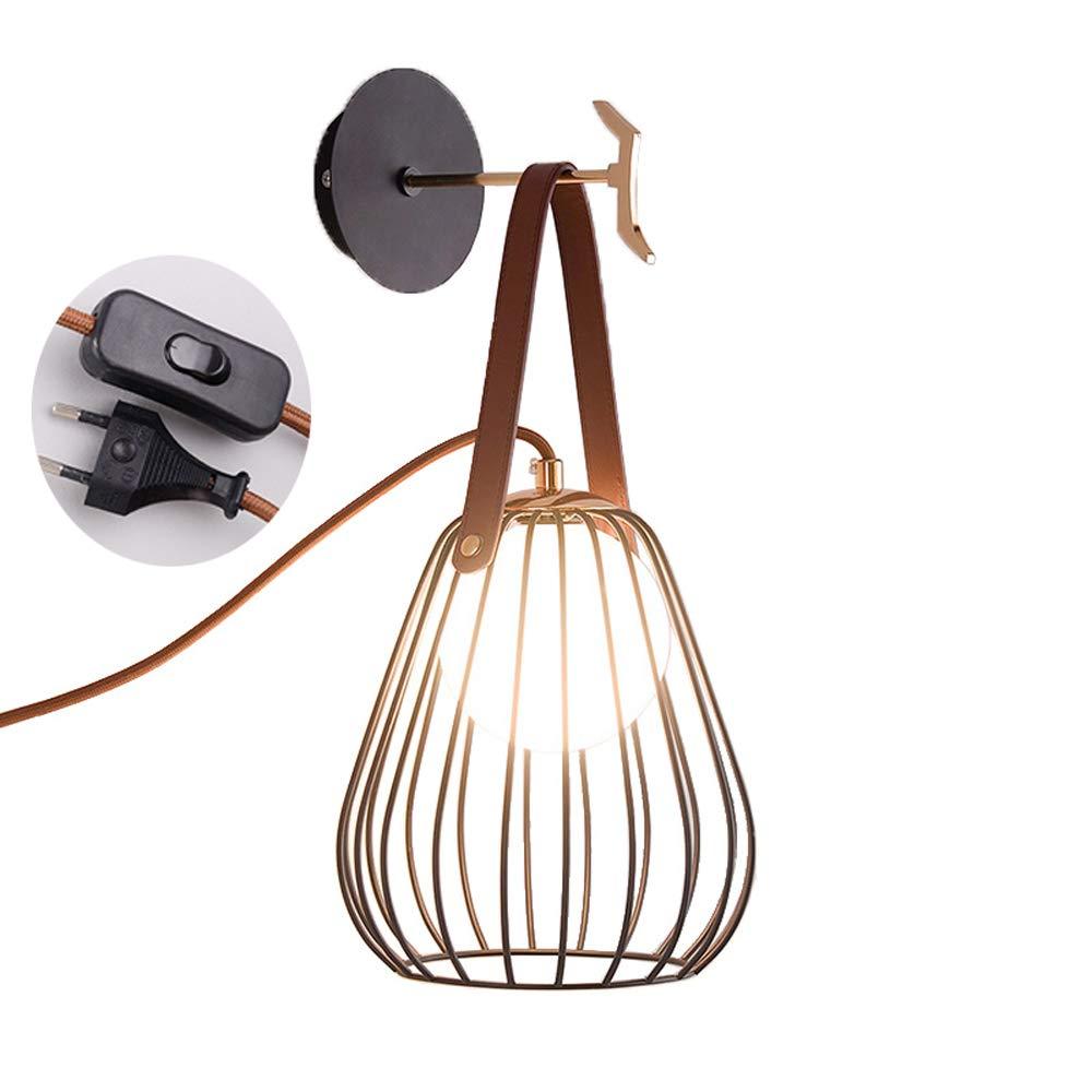 Nordische Eisen-Wandlampen, tragbare LED-Glasbeleuchtungs-hängende Lichter Tischlampe Wandleuchten Postmodern-Schlafzimmer-Nachttisch mit Schalter-Vogelkäfig-dekorativer Wandleuchte