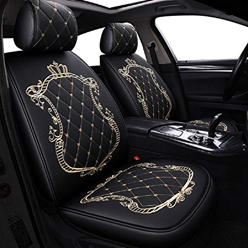 JOJOHON Crown Car Seat Covers, Fully Surrounded Unisex Seat,Winter Leather Seats Car,PU Leather And 3D Breathable Fabric (Black-gold):