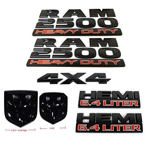 Set OEM Black RAM 2500 4X4 plus Grille Tailgate 6.4 Liter HEMI Emblems Badge Replacement for RAM 2500 2013-2018 Black