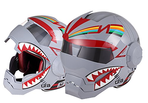 OSNICH Japanese Anime Full Face Motorcycle Helmet Street Bike Dirt Bike ATV Model 610 (Adult and Youth Sizes, DOT Certified) Shark
