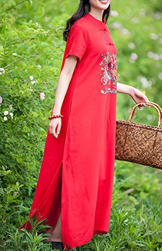 DISSA Cocktail Feiertagskleid Maxi Baumwolle Rot Party Lose Q32216 Kleid Ethisch Kleider Kurzarm Damen Leinen rq7wrPx6Y