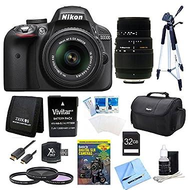 Nikon D3300 DSLR HD Black Camera, 18-55mm Lens, 70-300mm Lens and 32GB Card Bundle - Includes camera, 32GB SD memory card, 70-300mm f/4-5.6 SLD DG macro lens, EN-EL14 battery, carrying case, 52mm filter kit, USB card reader, memory card wallet, and more.