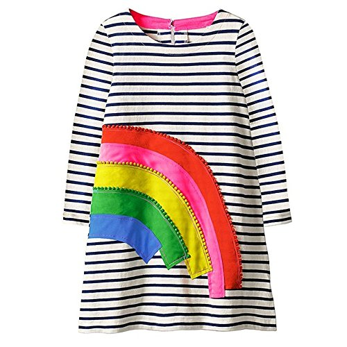 Baby Girls Dress Long Sleeve Cartoon Cotton Causal Dresses for Kids (4T, Rainbow) (Jersey Cotton Rainbow)
