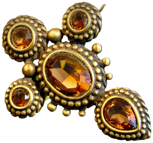 Hampton Medallion (ANTIQUE GOLD MEDALLION PIN- TOPAZ CRYSTAL ACCENTS)