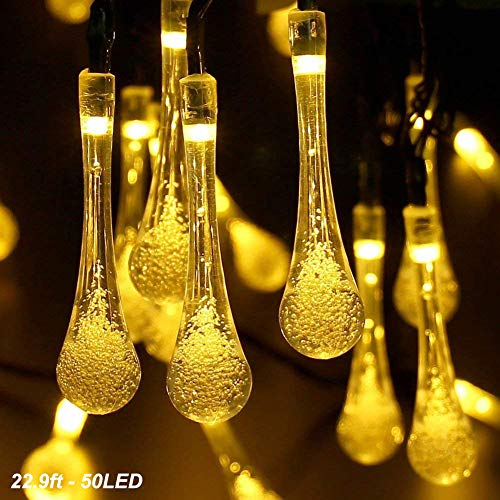 DEMTER Solar String Lights, 22.9ft 50 Advanced Waterproof Water Drop Mode LED Solar Fairy Lights, Outdoor Saint Valentine's Day Lights for Patio, Lawn, Home, Garden, Wedding, Party Decorations from DEMTER