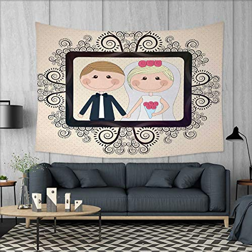 Anniutwo Romantic Art Wall Decor Wedding Photography Illustration with Happy Bride and Groom Swirled Lines Backdrop Tapestry Wall Tapestry W60 x L51 (inch) Multicolor