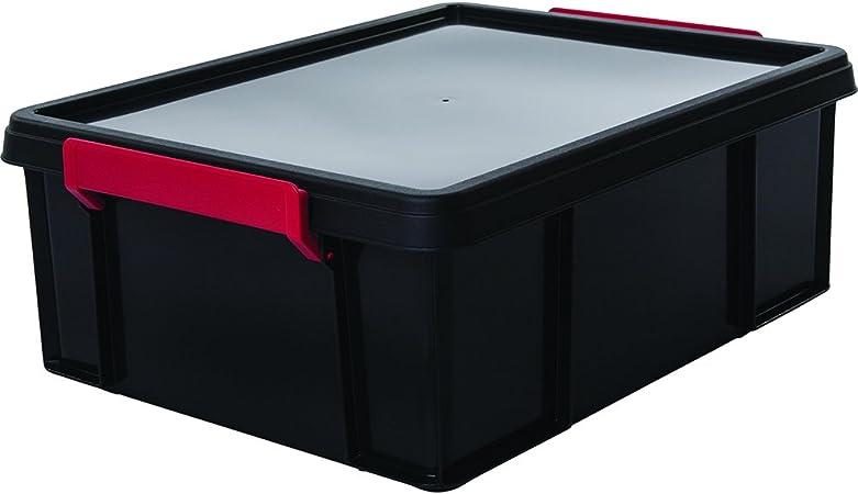 Iris Ohyama Boite De Rangement Bac En Plastique Avec Couvercle Multi Box Mbx 18 Plastique Noir Rouge Transparent 18 L 34 8 X 45 3 X 16 5 Cm Amazon Fr Cuisine Maison