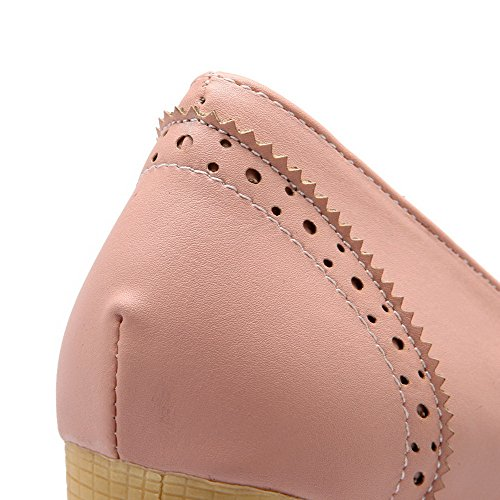 Allhqfashion Womens Pu Solide Pull-on Tacco Chiuso Scarpe Col Tacco Alto-scarpe Rosa