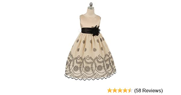 b43e73b06 Amazon.com  Kid s Dream Girls Champagne Floral Embroidered Flower ...