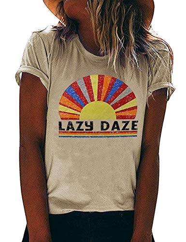 Lazy Daze Shirt Women Rainbow Graphic Tee Short Sleeve Letter Print Funny Tops Size S (As Shown)